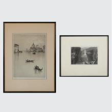 Two Engravings Depicting European Scenes, 20th Century,