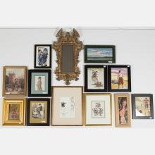 A Miscellaneous Collection of Framed Watercolor and Print Decorative Items, 19th/20th Century,