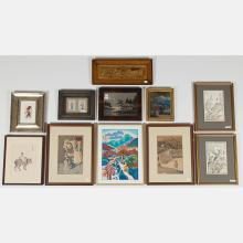 A Miscellaneous Collection of Asian Framed Decorative Items, 19th/20th Century.
