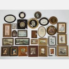 A Miscellaneous Collection of Small Framed Decorative Watercolors, Drawings and Prints by Various Artists, 19th/20th Century.