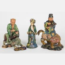 A Group of Three Chinese Earthenware Figures, 20th Century.