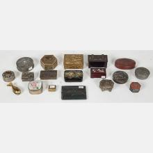 A Miscellaneous Collection of Asian Brass, Metal and Wood Decorative Boxes, 19th/20th Century.