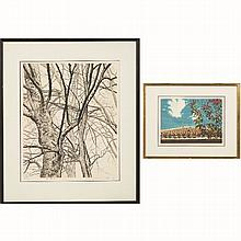 Shogo Okamoto (1920-1911) 'Trees' and 'Poinsettia', Etching and aquatint,