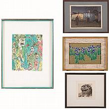 A Group of Four Japanese Colored Woodcuts and Etchings by Various Artists, 20th Century,