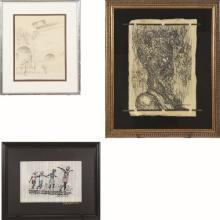 A Group of Three Framed Decorative Prints and Drawings by Various Artists, 20th Century,