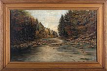 George Polhamus (20th Century) Forest River Scene, Oil on canvas,