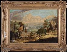 Artist Unknown (19th Century) Figure in A Landscape, Oil on canvas.