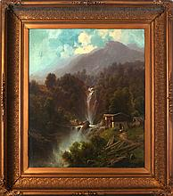 Carl Millner (1825-1895) Landscape with Waterfall, Oil on canvas,