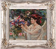 Payne Edwards (20th Century) Portrait of a Lady Arranging Flowers, Oil on canvas,