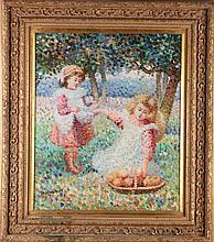 Ann Phillips (20th Century) Children Picking Apples, Oil on canvas,