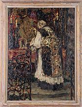 Wilhelm Blanke (1873-1943) Church Mass Scene, Oil on board,