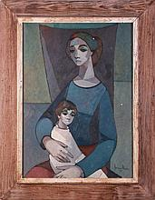 Senen Ubiña (1923-2012) Mother and Child, Oil on canvas,