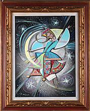 E. Kozak (Ukrainian, 20th Century) Female Figure Against a Night Sky, Oil on canvas,