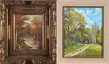 Maria Harasowska-Daczyszyn (Ukrainian, d. 2000) Path into the Wood, Oil on canvas,