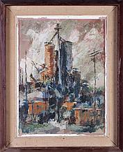 Al Linesch (20th Century) Industrial Landscape, Oil on canvas,