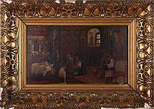 Ludovic Bassarab (1868-1933) Church Service, Oil on board,