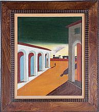 Italian Modernist Metaphysical School (20th Century) Piazza d'Italia, Oil on canvas,