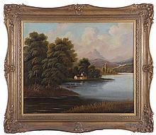 English School (19th/20th Century) River Landscape, Oil on canvas.