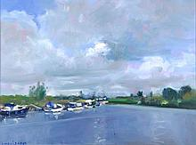 Ludvigsen (20th Century) Canal Scene with Boats, Oil on canvas,