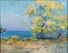 Singley (20th Century) Coastal Scene with Tree, Oil on canvas,