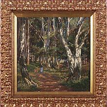 Aksel Martin Lassen (Danish, 1869-1946) A Walk in the Old Park, Oil on board,