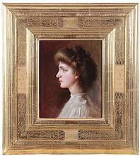 Robert Schade (1861-1912) Portrait of Marjorie, Oil on board,