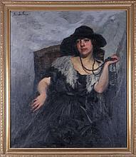 Sandor Vago (1887-1946) Portrait of a Lady, Oil on canvas,