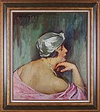Sandor Vago (1887-1946) Portrait of the Artist's Wife, Oil on canvas,