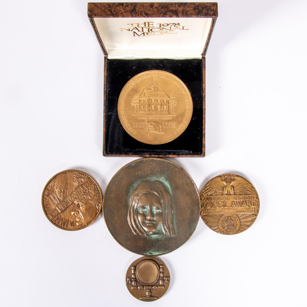A Collection of Five Bronze Medals and Medallions by Various