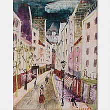 Charles Levier (1920-2004) Paris Street Scene, Oil on panel,