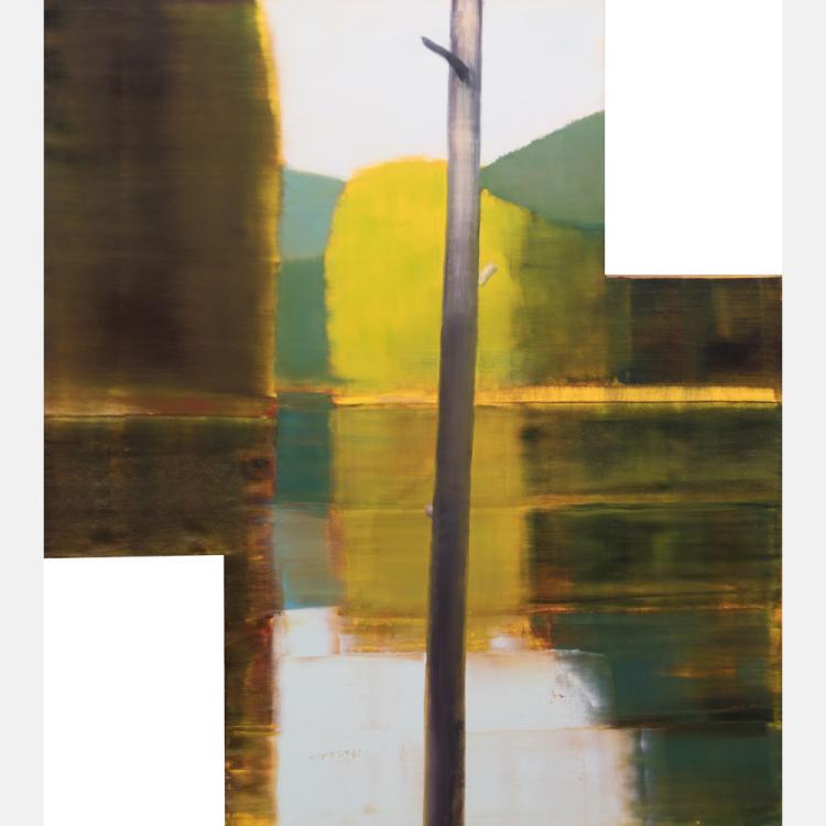 Steven Pentak (20th/21st Century) Black Foot, 1993, Oil on shaped birch panel,