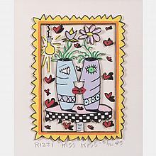 James Rizzi (1950-2011) Kiss Kiss, Hand-cut silkscreen with 3D construction,