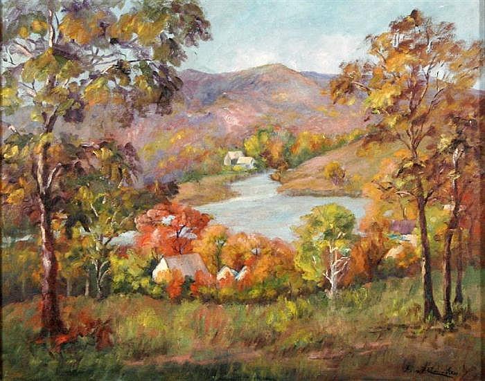 Fern Francis Cunningham (Fern Cunningham Stone) (1889-1975) River Landscape, Oil on canvas,