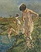 Erasmus B. Krumpelman (1897-1987) Bathing Nudes, Oil on canvas,