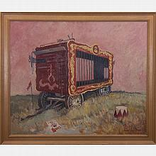 Francis Clark Brown (1908-1992) Landscape with Circus Wagon, Oil on canvas,