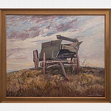 Francis Clark Brown (1908-1992) Landscape with Wagon, Oil on canvas,