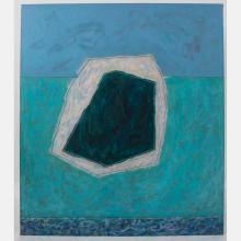 Al Newbill (1921-2012) Moonlight and River Rock, Oil on canvas,