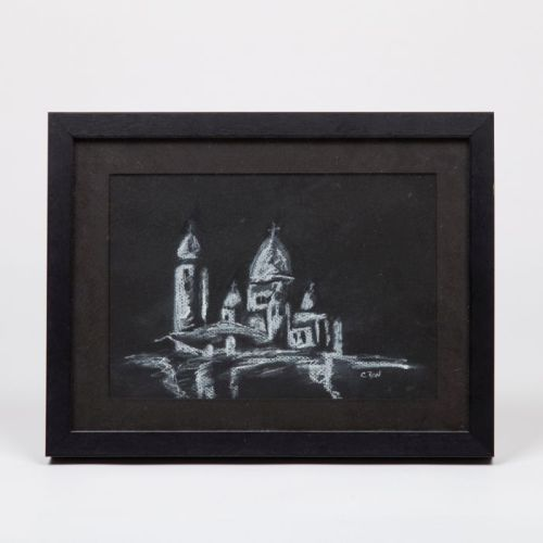 Charles Bon (aka Charles Labelle) (b. 1964) Sacre Coeur, 1992, Conte, crayon and pastel on paper,