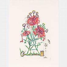Salvador Dali (1904-1989) Carnation with Keys (Dianthus Carophillius cum Clavinibus Multibibis), Drypoint etching,