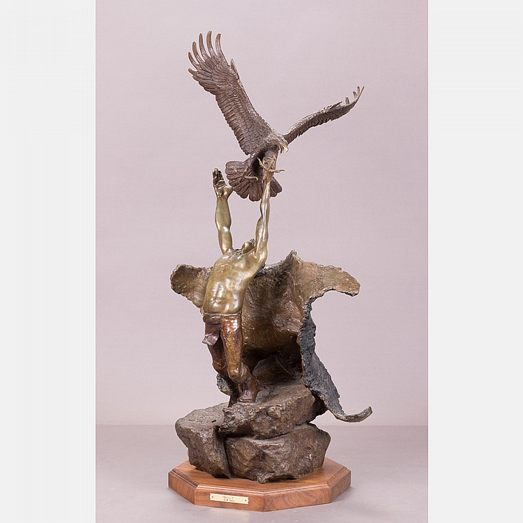 Wally Shoop (b. 1941) Spirit I (Eagle Catcher),  Bronze,