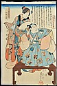 Utagawa Kuniyoshi (1797-1862) A Courtesan Stands Behind a Robed Nobleman, Woodblock print, circa 1845,