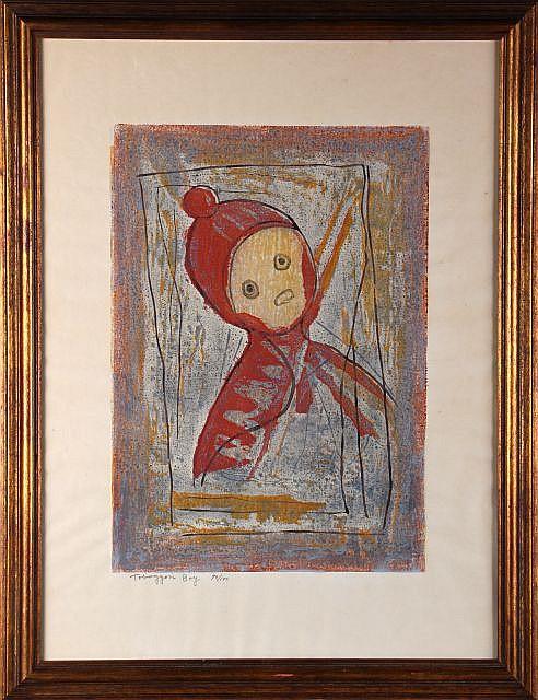 Yoshiro Nagase (Japanese, 1891-1978) Toboggan Boy (1961), Color woodblock print,