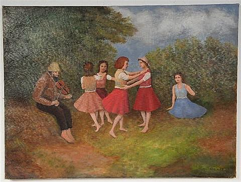 Nandor Vydai Brenner (Hungarian, b. 1903), Figures Dancing, Oil on Canvas,