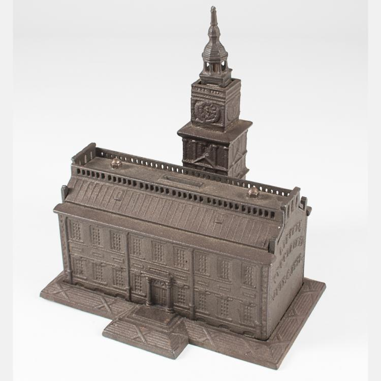 A Cast Iron Independence Hall Still Bank by Enterprise Manuf