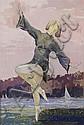 Ottmar von Fuehrer (Pennsylvania, 1900-1967) Dancing Figure in a Landscape, Tempera on paper,, Ottmar F Von Fuehrer, Click for value