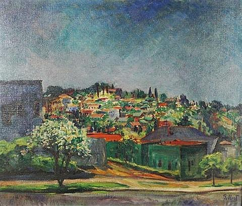Emery Gellert (American, 1889-1971) Santa Barbara, Oil on board,