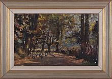 Walter Richard Sickert (1860-1942) A Lane at Chagford, Oil on canvas,