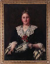 Robert Edward Morrison (1852-1925) Portrait of Mrs. Charlotte de Hooch, Oil on canvas,