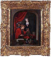 Attributed to Constantin Netscher (1668-1723) Interior Scene with Physician, Oil on panel.