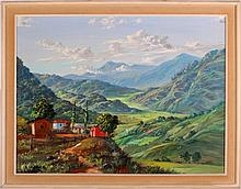 G. Gomez R. (20th Century) Tropical Village Scene with Mountains, Oil on canvas laid on board,